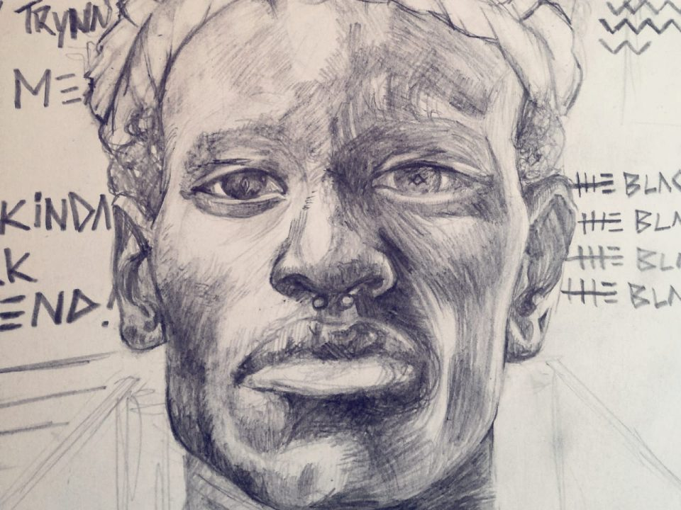 Pencil drawing of African male face