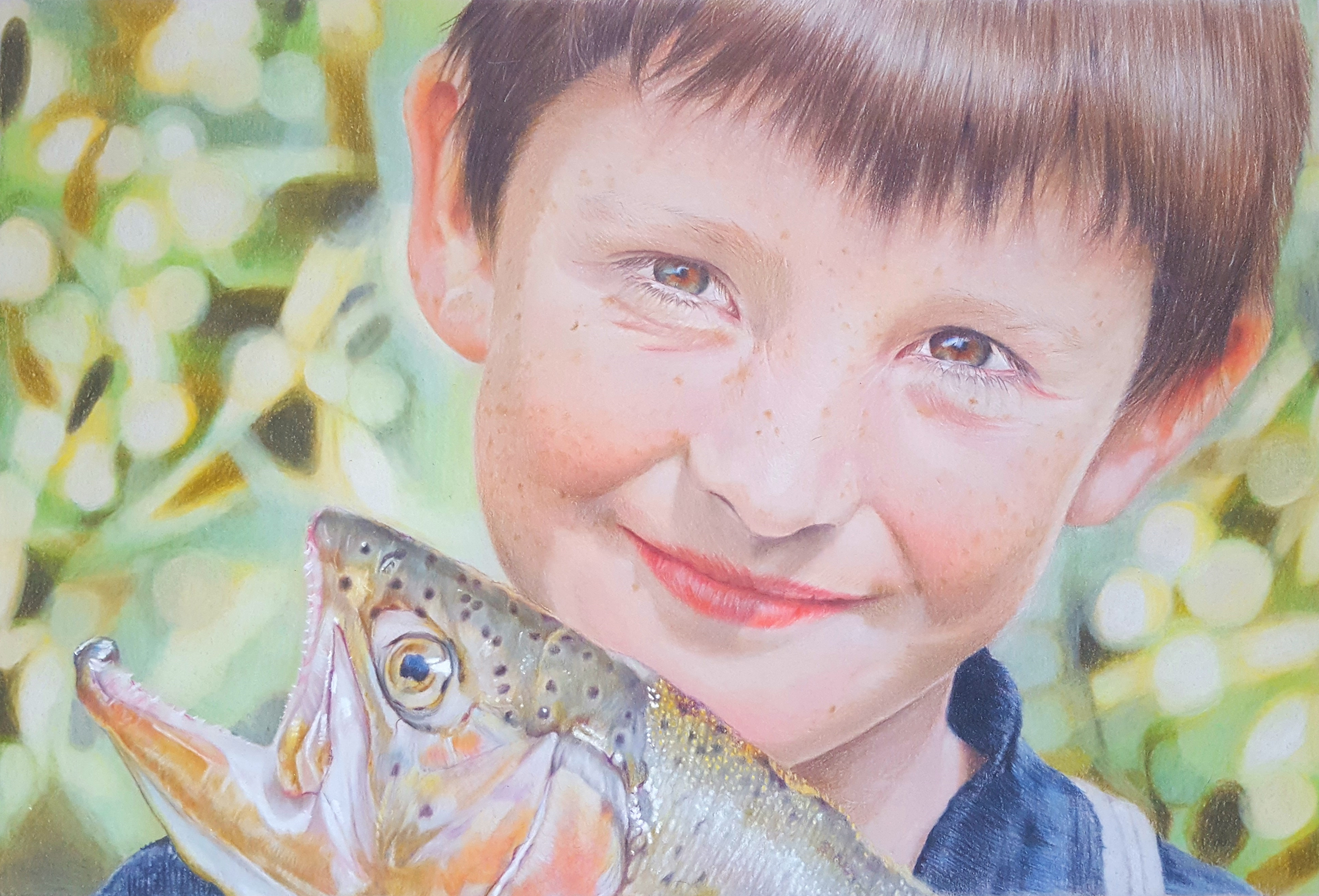 Interview: Lesley Martyn The_Biggest_Catch_FC_Polychromos,_CD_Pablos_and_Luminance_on_light_grey_mountboard,_A4_Own_reference_photo